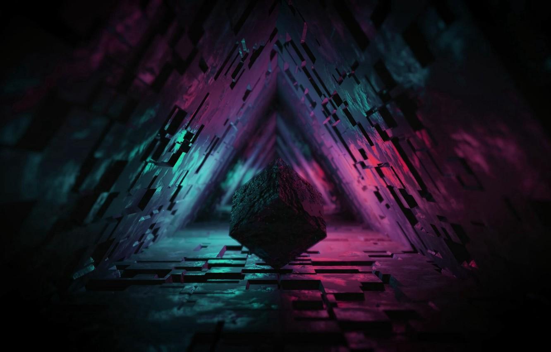 Photo wallpaper lights, dark, figure, tunnel, 3d, 3d cube