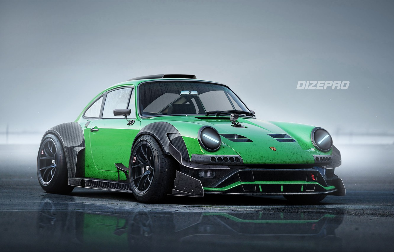 Photo wallpaper Auto, Green, Machine, Art, Porsche 911, Dmitry Strukov, Dizepro, by Dmitry Strukov, Dize_pro, 911 Green …