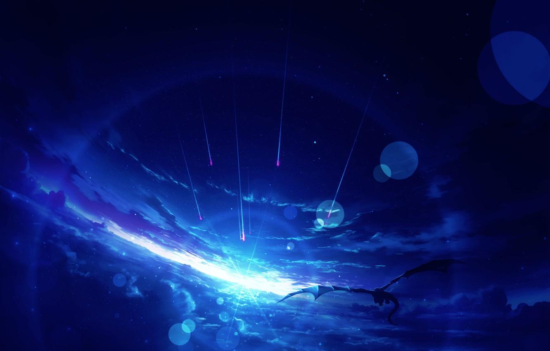 Photo wallpaper the sky, light, dragon, shooting stars