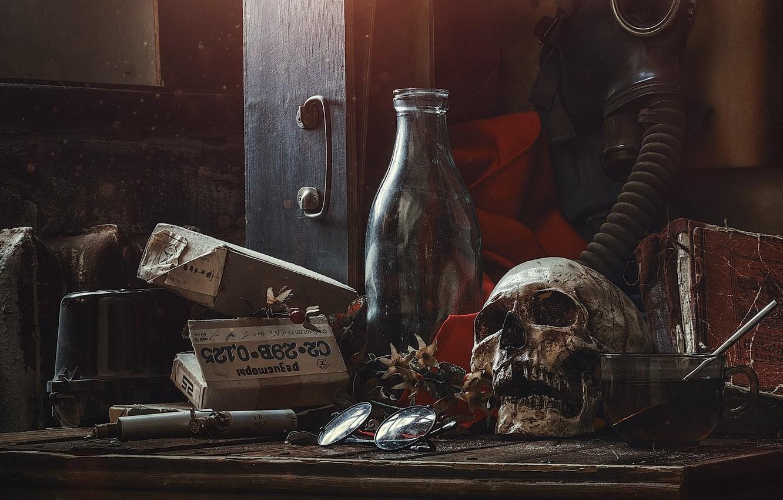 Wallpaper Skull Bottle Gas Mask Unusual Still Life Images For Desktop Section Raznoe Download