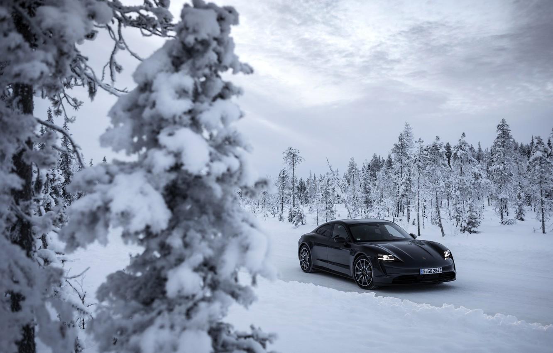 Photo wallpaper snow, trees, black, Porsche, ate, 2020, Taycan, Taycan 4S