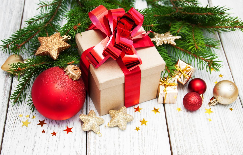 Photo wallpaper decoration, balls, New Year, Christmas, gifts, christmas, balls, merry, decoration, gift box, fir tree, fir-tree …