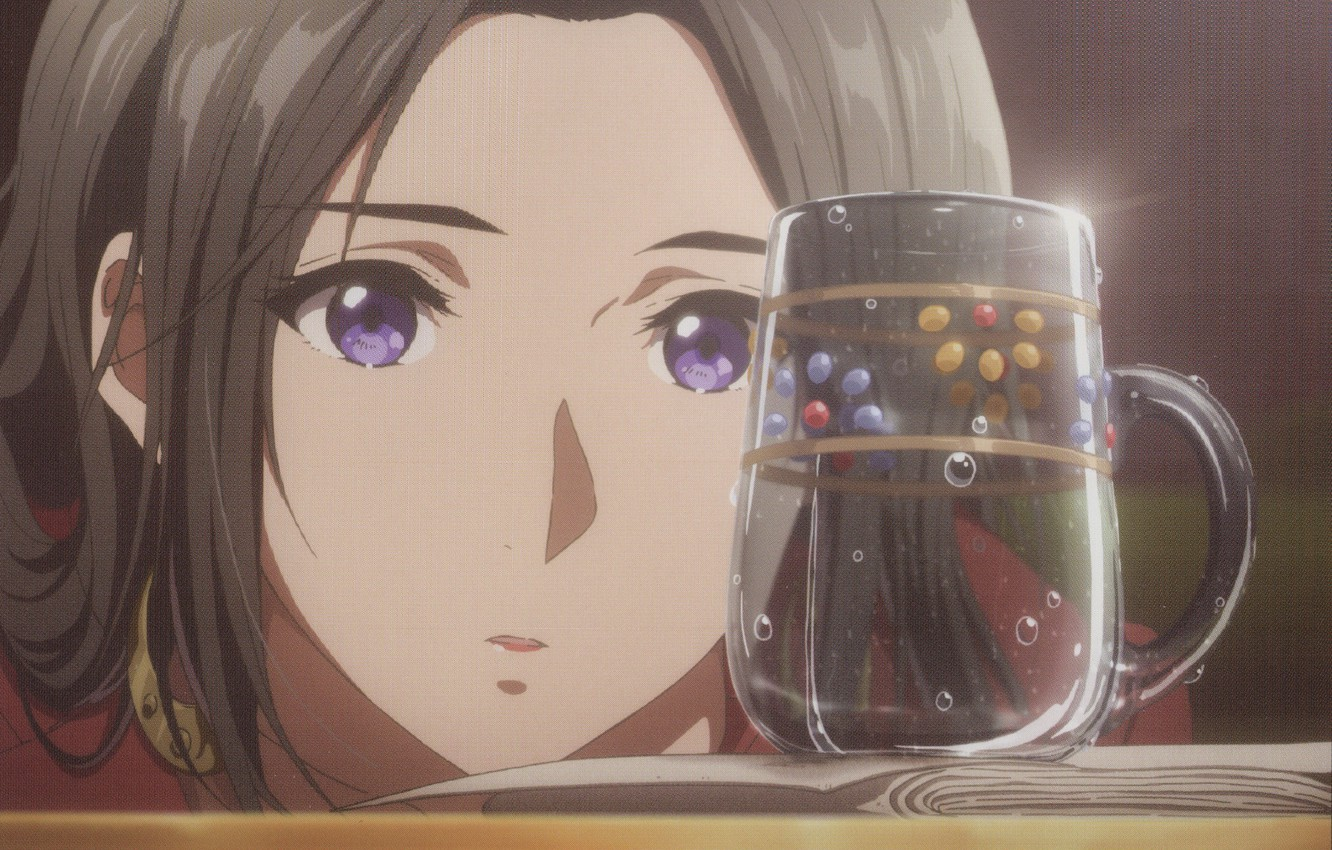 Photo wallpaper bubbles, face, the mug on the table, sheets of paper, Violet Evergarden, Cattleya Baudelaire, by …