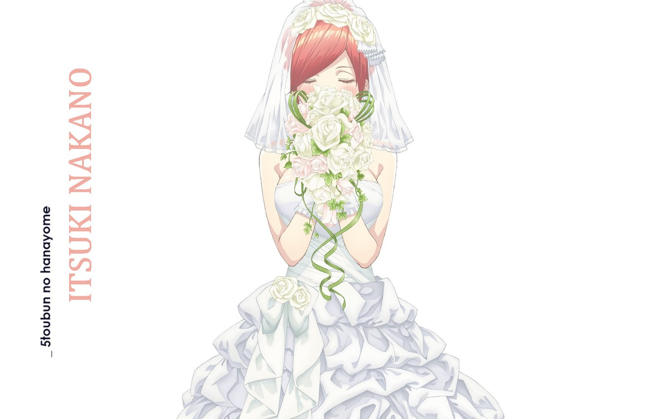 Photo wallpaper white background, red, wedding dress, closed eyes, the bride's bouquet, a wreath of roses, Toubun …
