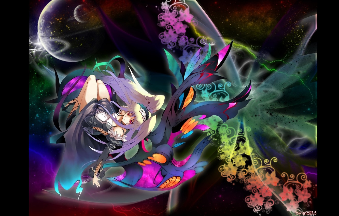 Photo wallpaper space, lights, planet, girl, black background, sorceress, weightlessness, floral pattern, long white hair, by Mali …