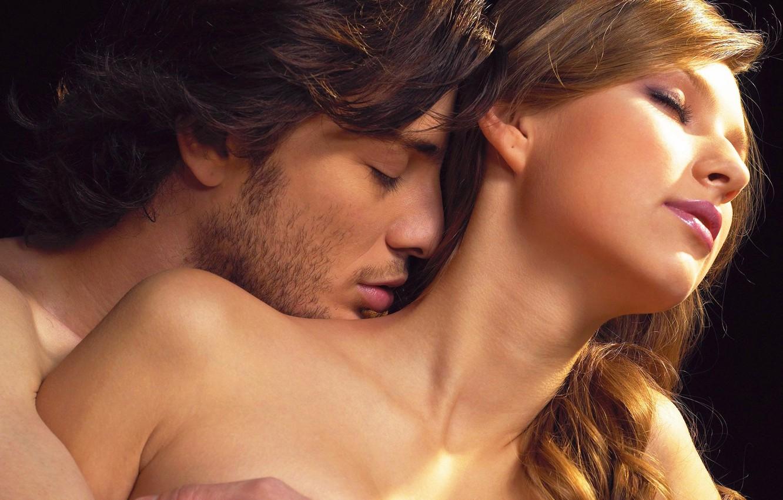 Photo wallpaper girl, happiness, tenderness, desire, kiss, hugs, pair, male, lovers