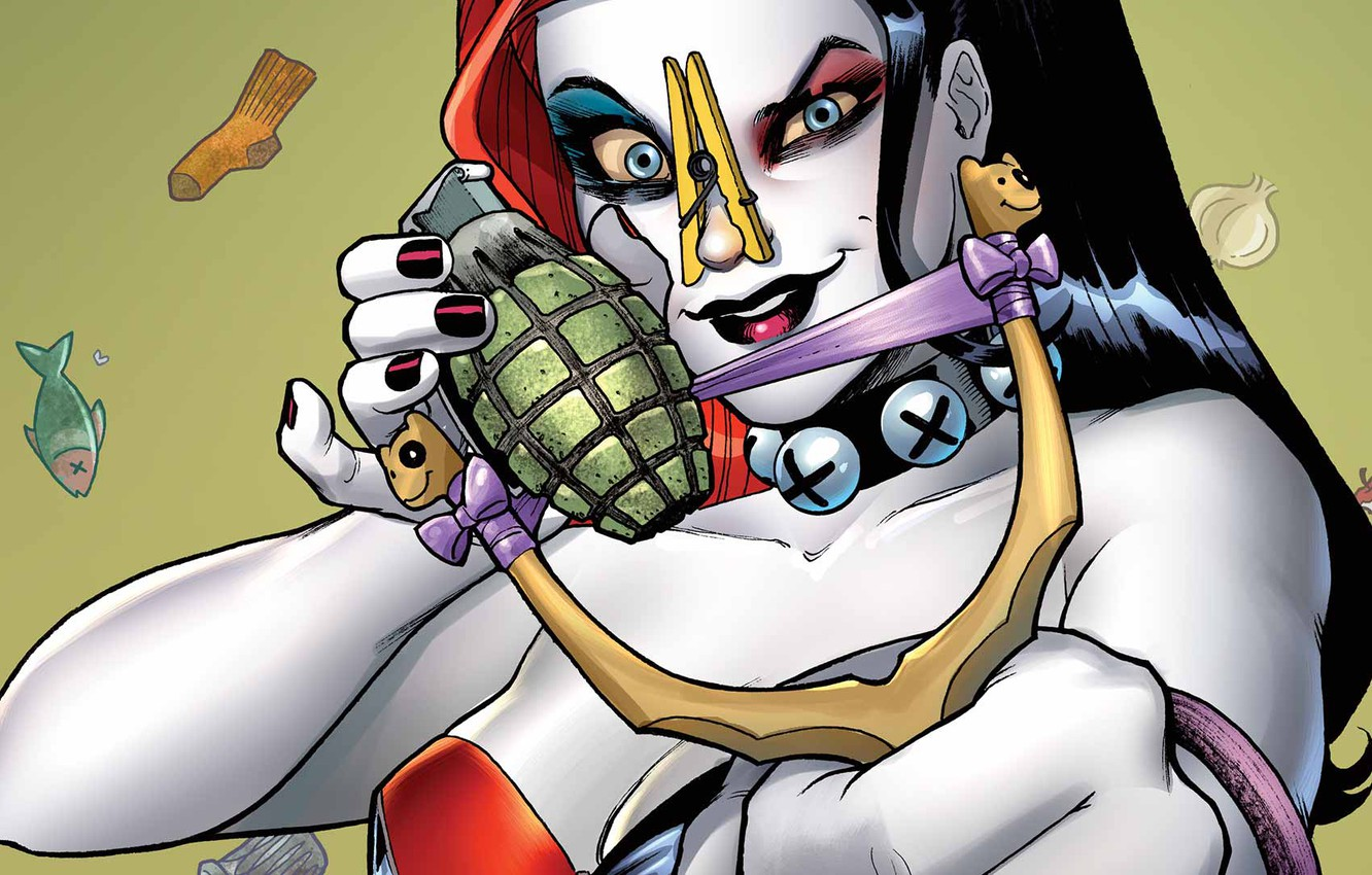 Photo wallpaper girl, fantasy, blue eyes, comics, artwork, superhero, fantasy art, DC Comics, Harley Quinn, hand grenade, …