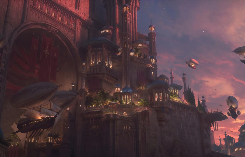 Photo wallpaper city, fantasy, twilight, sky, sunset, clouds, digital art, buildings, artwork, architecture, fantasy art, vehicles, airships, …