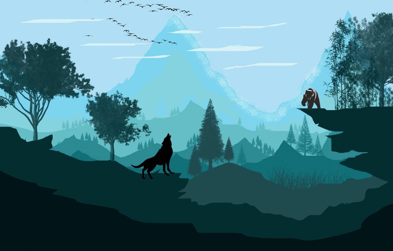 Wallpaper Mountain Wolf Vector Bear Images For Desktop Section