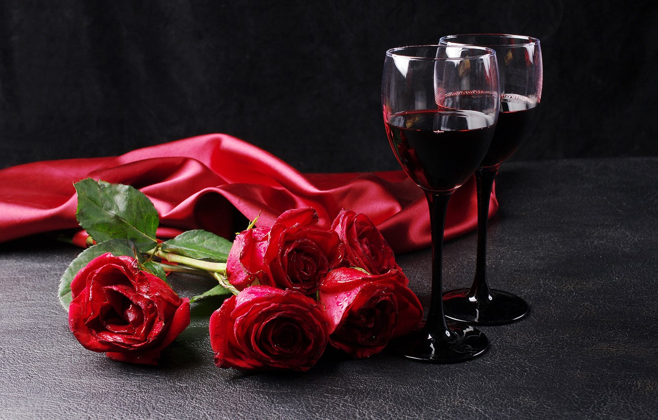 Photo wallpaper wine, romance, roses, glasses, red, March 8