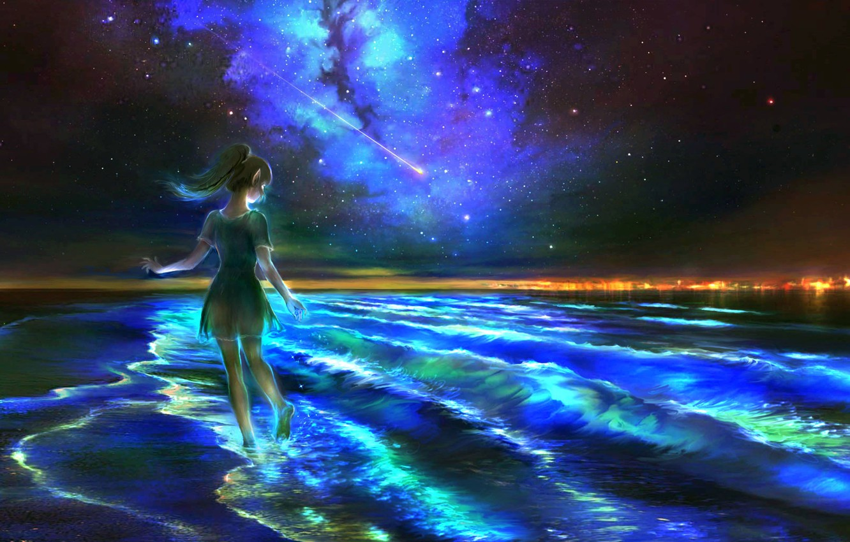 Photo wallpaper sea, night, fantasy, elf, the milky way