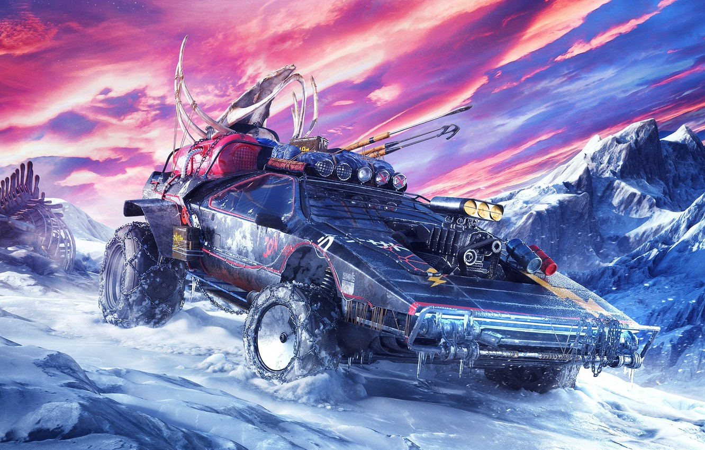 Photo wallpaper cold, machine, the sky, snow, fiction, planet, art, sci-fi