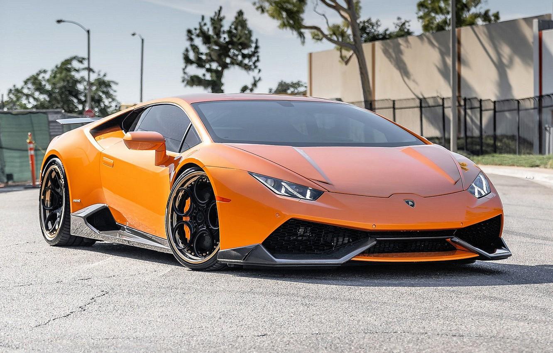 Photo wallpaper Lamborghini, Lamborghini, LP 610-4, Huracan, Lamborghini Huracan, Watch free Lamborghini LP 610-4, Orange Borealis