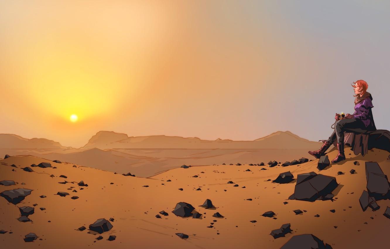 Photo wallpaper Sunset, The sun, Girl, Desert, Girl, Sun, Sunset, Fiction, Characters, Desert, Science Fiction, by James …