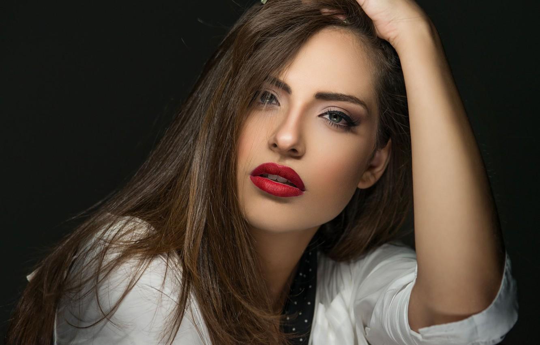 Photo wallpaper look, girl, pose, model, makeup, brunette, lips, Manthos Tsakiridis