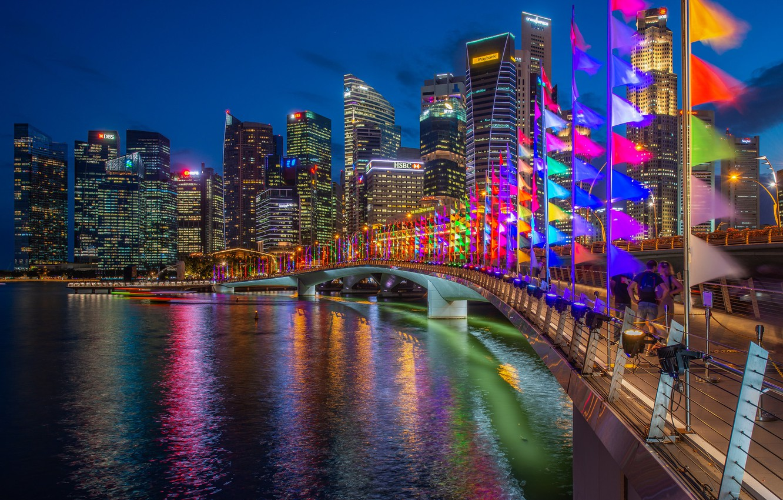 Photo wallpaper bridge, building, home, Bay, Singapore, night city, flags, skyscrapers, Singapore, Marina Bay, Marina Bay, Jubilee …