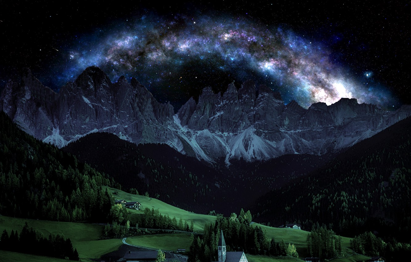 Photo wallpaper the sky, mountains, night, Italy, Alps
