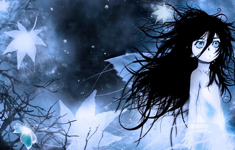 Photo wallpaper cold, night, fog, loneliness, fear, baby, Berserk, Berserker, big eyes, disheveled hair
