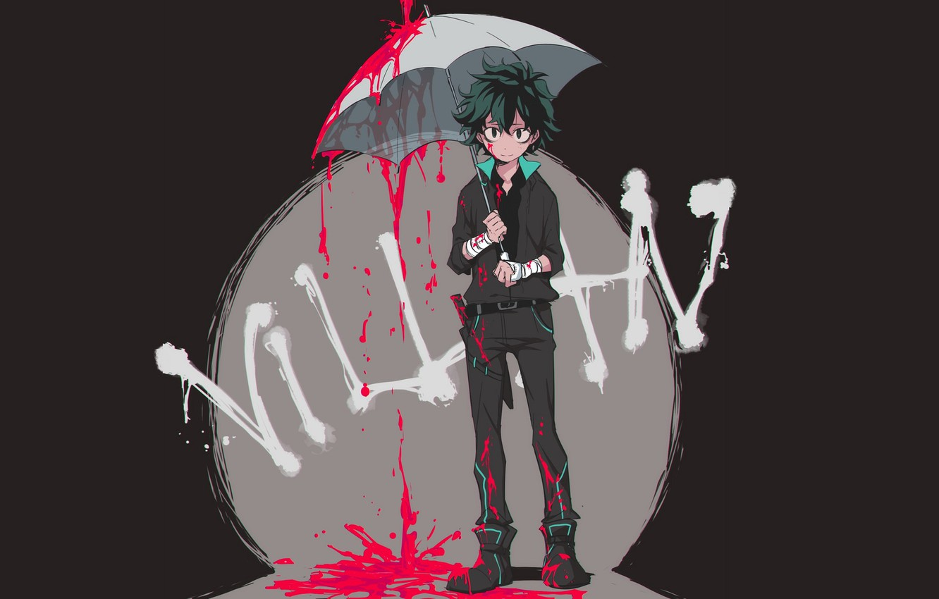 Photo wallpaper look, blood, umbrella, guy, Boku no Hero Academy, Midori Isuku, My heroic academia, Izuku Midoriya