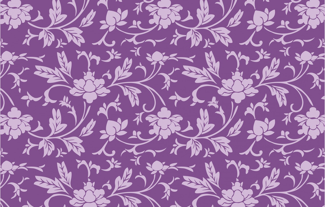 Wallpaper Flowers Background Pattern Purple Wallpaper