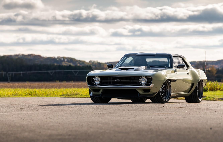 Photo wallpaper Road, Grass, Chevrolet, 1969, Camaro, Lights, Chevrolet Camaro, Muscle car, Classic car, Wide Body Kit, …