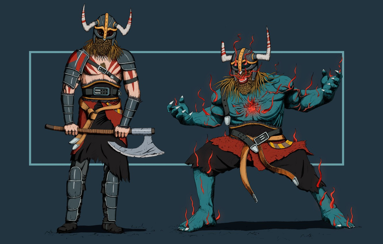 Photo wallpaper Minimalism, Figure, Monster, Warrior, Art, Concept Art, Viking, Viking, Two, Louis Picard, by Louis Picard, ...