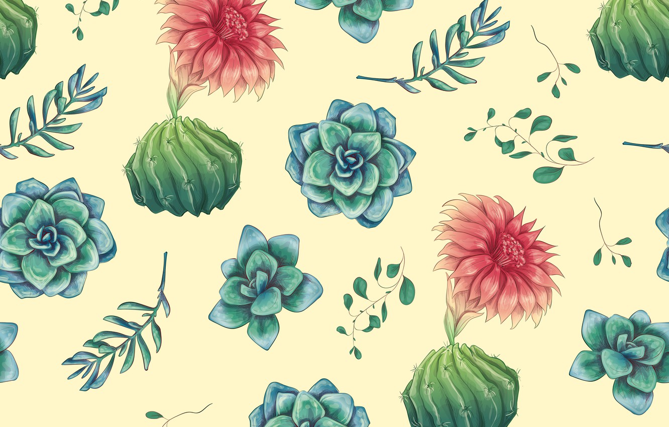 Photo wallpaper leaves, flowers, background, texture, cacti