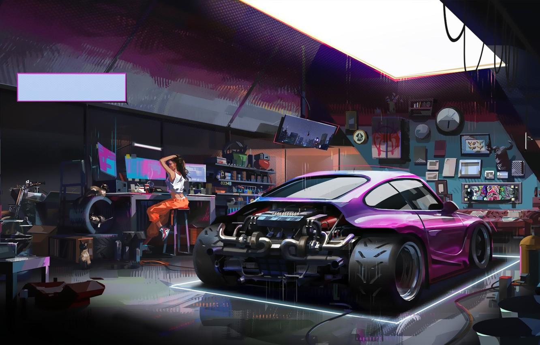 Photo wallpaper Girl, Auto, Figure, Porsche, Machine, Girl, Garage,