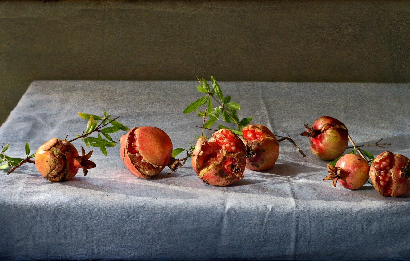 Photo wallpaper table, background, grain, fruit, still life, on the branch, grenades, tablecloth, composition, pomegranate