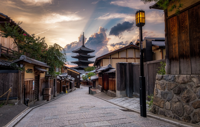 Photo wallpaper sunset, the city, street, home, the evening, Japan, lights, Kyoto, pagoda of Yasaka, Yasaka Pagodа