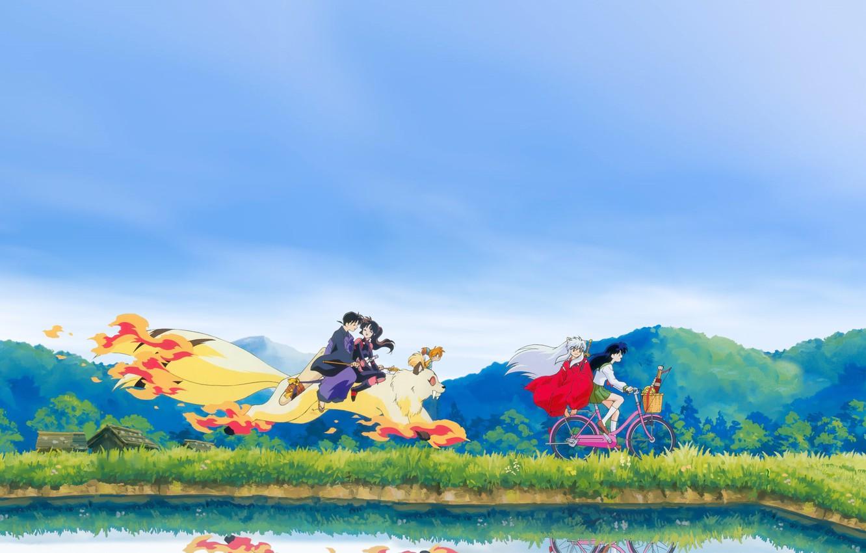 Photo wallpaper bike, Japan, the demon, schoolgirl, walk, friends, pond, art, blue sky, Kirara, Inuyasha, Inuyasha, Rumiko ...