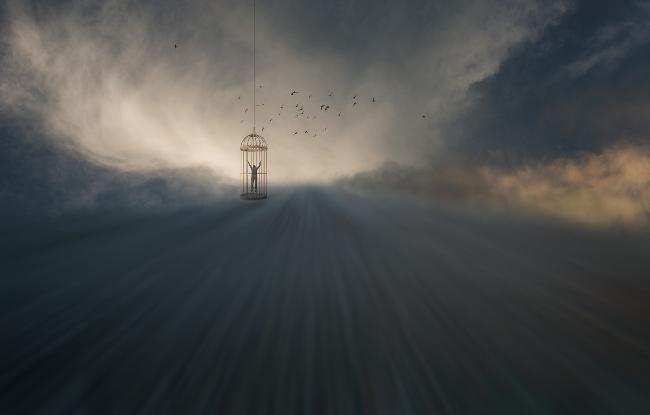 Photo wallpaper clouds, rays, birds, people, cell, clouds, birds, rays, man, cage, Uschi Hermann