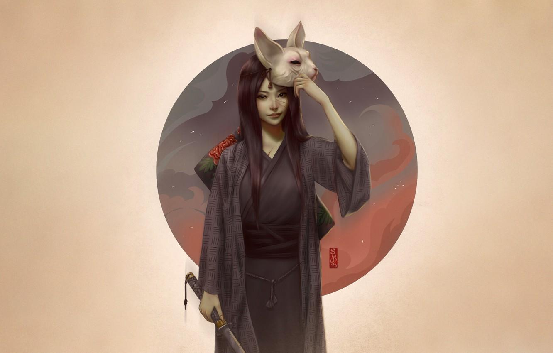 Photo wallpaper Girl, Minimalism, Style, Asian, Girl, Sword, Mask, Art, Art, Asian, Style, Kimono, Katana, Minimalism, Katana, …