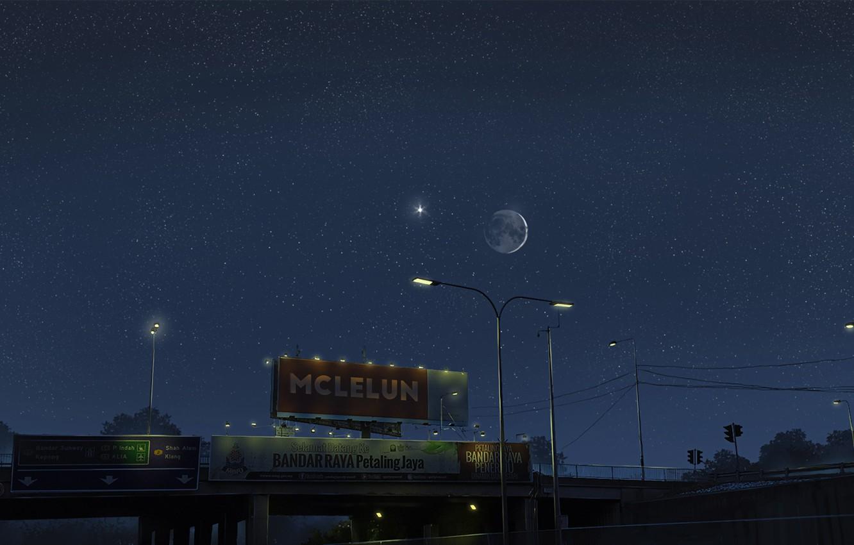 Photo wallpaper the sky, night, street, lantern