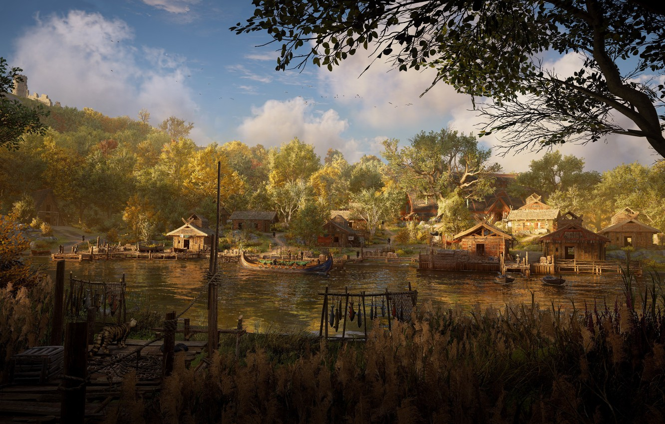 Wallpaper Nature River Village Assassin S Creed Valhalla Images For Desktop Section Igry Download