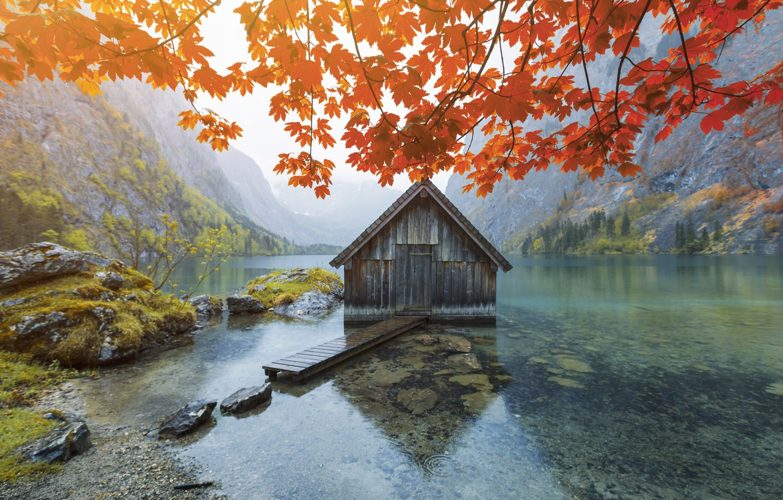 Photo wallpaper autumn, mountains, lake, house, foliage, house, autumn, mountains, lake, foliage, muhur-samet guler