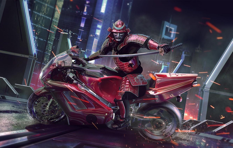 Photo wallpaper Moto, Samurai, warrior, Sci Fi