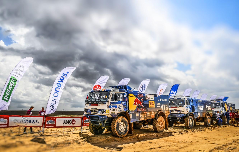 Photo wallpaper Sand, Clouds, Auto, Sport, Machine, Truck, Three, Race, Master, Russia, 300, Kamaz, Rally, KAMAZ-master, Rally, …