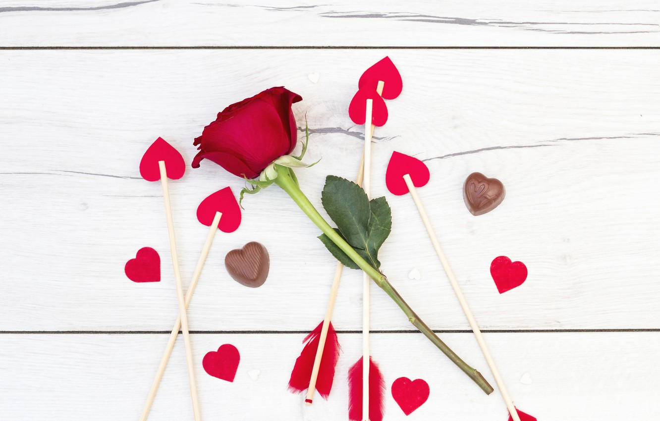 Photo wallpaper rose, candy, flower, chocolate, candies