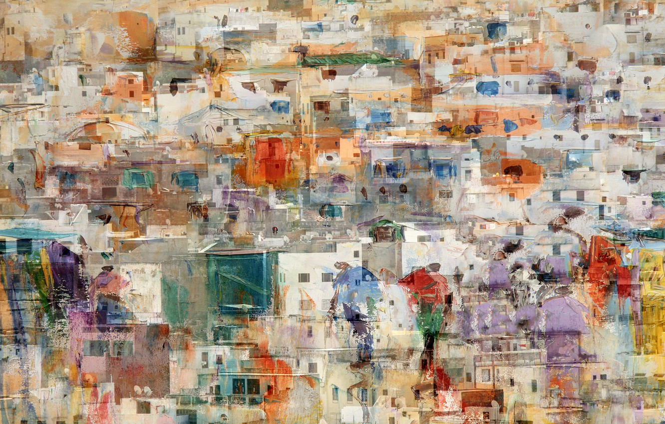 Photo wallpaper the city, paint, home, overlay