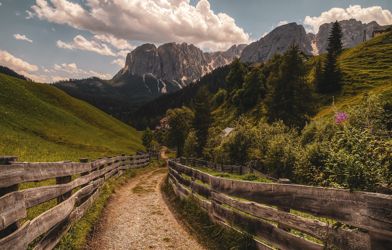 Photo wallpaper road, mountains, the fence