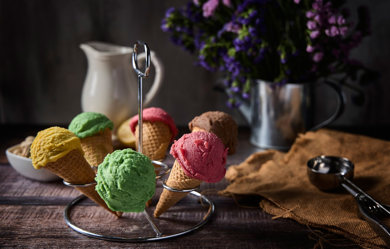 Photo wallpaper flowers, ice cream, pitcher, still life, stand, waffle cone