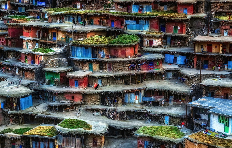 Photo wallpaper houses, Iran, slums, Sar Aqa Seyyed