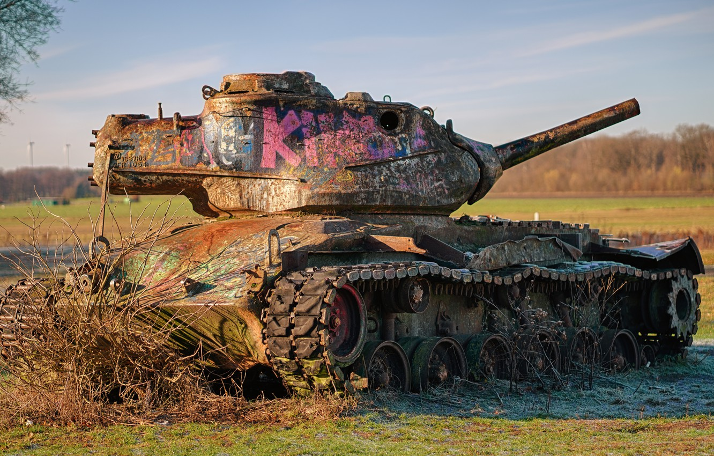 Photo wallpaper rust, tank, M47, Patton II