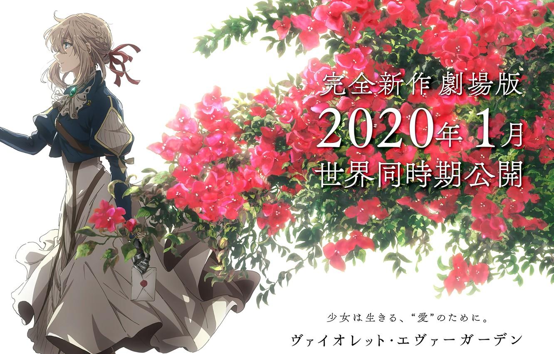 Photo wallpaper letter, characters, art, in profile, red flowers, garden flowers, Violet Evergarden, violet evergarden, Akiko Takase