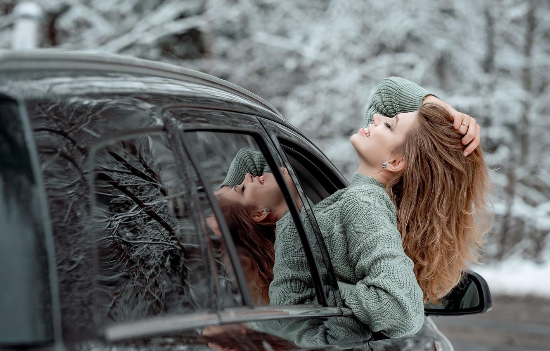 Photo wallpaper machine, auto, girl, face, pose, mood, hair, sweater, closed eyes, Виктория Носачёва