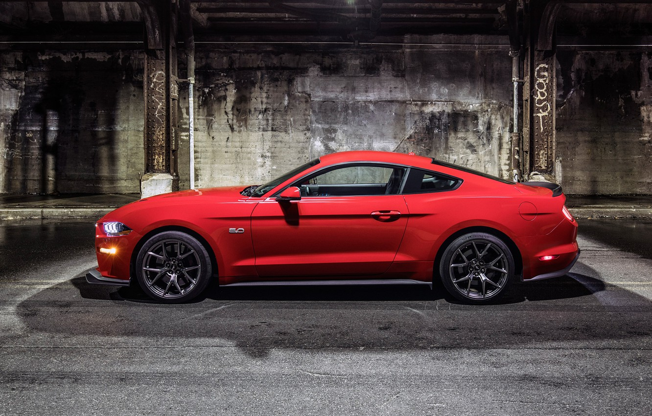 Photo wallpaper Mustang, Ford, Red, Wheel, Machine, Light, Shadow, Lights, Drives