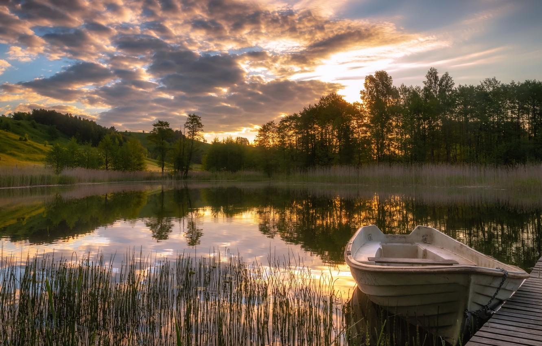 Photo wallpaper bridge, lake, boat, the evening