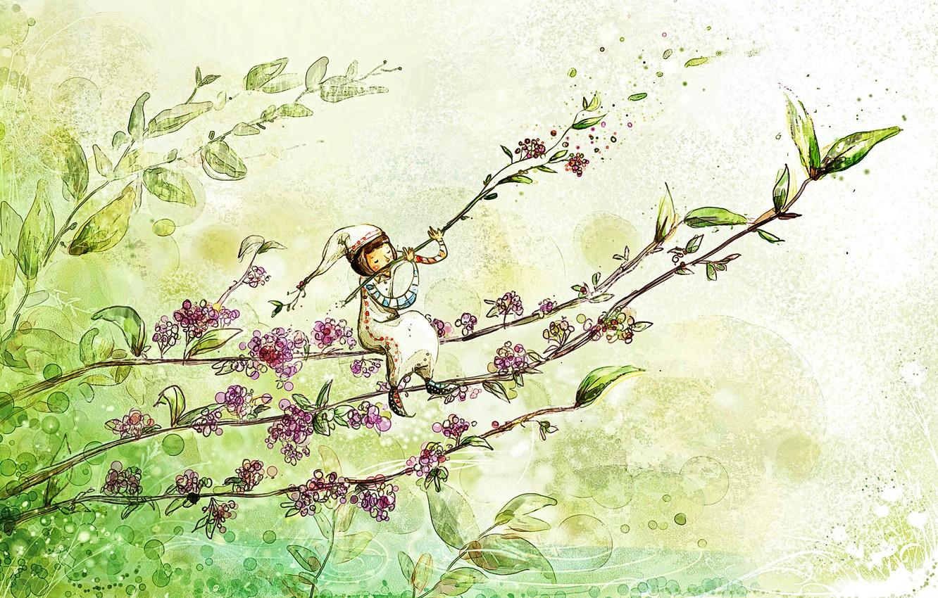 Photo wallpaper greens, flowers, mood, plant, tale, spring, morning, art, picture, the watercolor drawing, spring fantasy, melody …