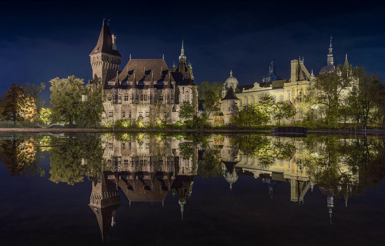 Photo wallpaper night, photo, Castle, Budapest, Vajdahunyad